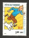 Stamps France -  Día del sello, Tin Tin y Milou