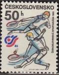 Sellos de Europa - Checoslovaquia -  CHECOSLOVAQUIA 1985 Scott 2562 Sello Nuevo Spartakiad en Estadio Strahov Praga Gimnastas calentando