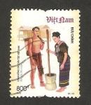 Stamps Asia - Vietnam -  traje típico de ro-mam