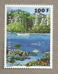Stamps of the world : Polynesia :  Paisaje de la costa