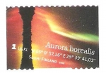 Stamps : Europe : Finland :  aurora boreal roja