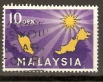 Stamps Asia - Malaysia -  MAPA  DE  MALASIA  Y  14  PUNTOS