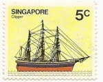 Stamps Singapore -  Barco (Clipper)