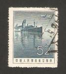 Sellos de Asia - China -  avión sobrevolando un barco