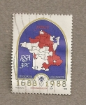 Stamps Africa - South Africa -  Mapa Hugonotes en Francia