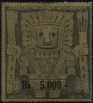 Stamps Bolivia -  Puerta del Sol de Tiahuanacu. Sobrecargados