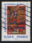 sellos de Europa - Francia -  Miniatura del siglo XV - La Navidad