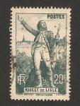 Stamps France -  centº de la muerte de claude rouget de lisle, estatua