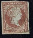 Stamps Europe - Spain -  Isabel II Edifil 40 filigrana lazos