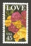 Sellos de America - Estados Unidos -  flores y love