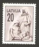 Sellos del Mundo : Europa : Letonia : cementerio de los soldados de riga, anciano y joven combatiente herido