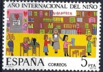 Stamps of the world : Spain :  2519 Año Internacional del niño. La Biblioteca, Dibujo infantil.