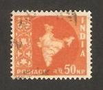 Sellos de Asia - India -  81 - mapa de la india