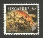 Sellos del Mundo : Asia : Singapur : fauna marina, cyprae tigris