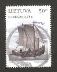 Sellos del Mundo : Europa : Lituania : antiguas naves, kurenas del siglo XVI