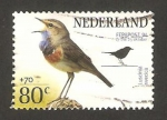 Stamps Netherlands -  aves, luscina svecica