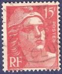 Stamps France -  FRA Yvert 813 Marianne de Gandon 15 rojo