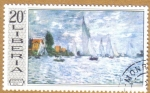 Stamps Liberia -  Monet-Regatta at Argenteu