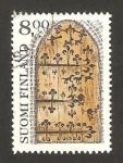 Sellos de Europa - Finlandia -  puerta de la iglesia de hollola