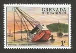 Sellos de America - Granada -  barco en construcción en carriacou