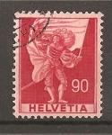 Sellos de Europa - Suiza -  Serie Historica - papel con fragmentos de hilo de seda.
