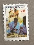 Sellos del Mundo : Africa : Mali : Escena de beber té en el desierto