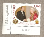 Sellos del Mundo : Europa : Mónaco : Encuentro Alberto I-Papa Benedicto XVI