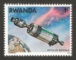 Stamps Africa - Rwanda -  cooperación espacial USA-URSS, nave espacial apolo soyouz