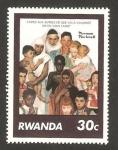 Stamps Rwanda -  homenaje a norman rockwell, escritor