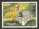 Sellos del Mundo : Africa : Ghana : bambi, flor y tambor