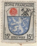 Sellos de Europa - Alemania -  ALEMANIA 1945 Freimarken: Wappen der Lander der franzos. Zone und deutsche Dichter - Saargebiet 15