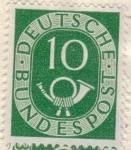Sellos de Europa - Alemania -  ALEMANIA 1951 (M128) Freimarken: Posthorn  10
