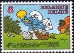 Stamps Europe - Belgium -  Belgica 1984 Scott 1082 Sello Nuevo ** Comics Pitufo Cartero Schroumpf Smurfs Belgique