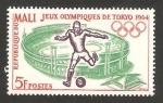 Stamps : Africa : Mali :  olimpiadas de tokyo 1964, fútbol