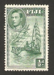 Stamps Oceania - Fiji -  George VI, y barco a vela
