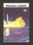 Sellos del Mundo : Oceania : Islas_Marshall : isla de kwajalein y estación terrestre para el programa espacial de estados unidos