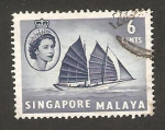 Stamps Asia - Singapore -  elizabeth II, barco