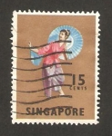 Stamps Asia - Singapore -  bailes y mascaras, tari payong