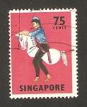 Sellos del Mundo : Asia : Singapur : bailes y mascaras, tarian kuda kepang