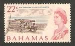 Stamps America - Bahamas -  isabel II, cañón del fuerte Charlotte