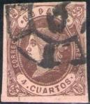 Sellos de Europa - España -  ESPAÑA 1862 58 Sello Isabel II Tipo I 4cu usado Espana Spain Espagne Spagna