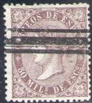 Sellos de Europa - España -  ESPAÑA 1868 98 Sello Isabel II 50m Barrado Usado Espana Spain Espagne Spagna