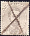 Sellos del Mundo : Europa : España : ESPAÑA 1872 122 Sello Reinado Amadeo I 12c Usado Espana Spain Espagne Spagna
