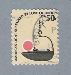 Stamps United States -  America's Light Sustained by Lovr of Liberty