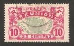 Stamps France -  Reunión - mapa de la isla