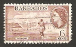 Sellos del Mundo : America : Barbados : Elizabeth II, y pescador lanzando la red
