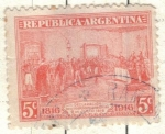 Stamps America - Argentina -  ARGENTINA 1916 (MT201) Centenario de la Independencia 5c