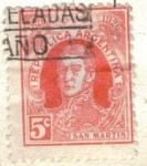 Stamps America - Argentina -  ARGENTINA 1926 (MT310) 1 Centenario del Correo Argentino - San Martin
