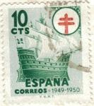 Stamps : Europe : Spain :  ESPAÑA 1949 (E1066) Pro Tuberculosos 10c INTERCAMBIO