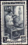 Stamps of the world : Italy :  Italia 1950 Scott 552 Sello º Oficios Il Tornio Ceramica Toscana 5L Timbre Italie Italy Stamp Franco